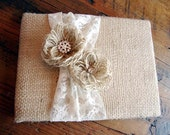 Rustic Burlap and Lace Wedding Guest Book -- Sheron Design Style Guestbook