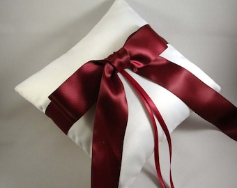 Gabriella Ring Bearer Pillow - Choose Your Own Colors. Shown in White and Burgundy.