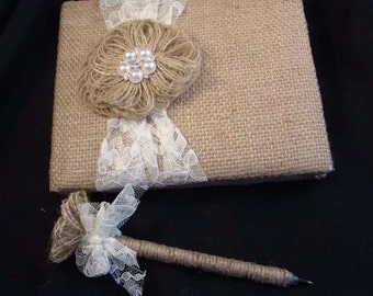 Rustic Burlap Lace Pearl and Rhinestone Wedding Guest Book and Pen Set ... Naomi Design Style