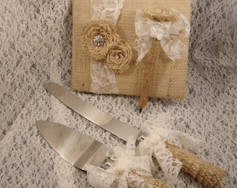 Rustic Burlap Wedding Cake Servers and Guest Book Pen Set