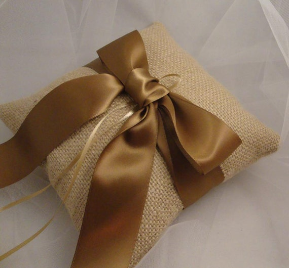 Burlap Rustic Outdoor Ring Bearer Pillow - Choose Your Own Ribbon Color - BOGO Half Offer
