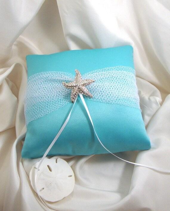Destination Beach Wedding Ring Bearer Pillow With Rhinestone