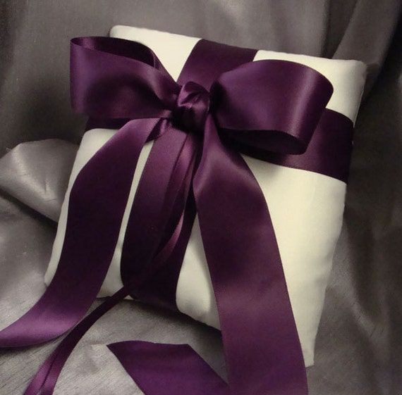 Gabriella Ring Bearer Pillow in Ivory and Eggplant  - Choose Your Own Colors
