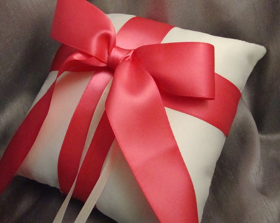Wedding Ring Bearer Pillow Gabriella Style Shown in Ivory and Guava-Coral -- Pick Your Own Colors
