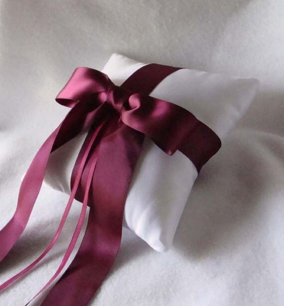 Gabriella Ring Bearer Pillow - Pick Your Own Color - Shown in White and Burgundy.