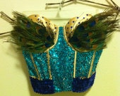 Sparkly Peacock Bustier Costume XS