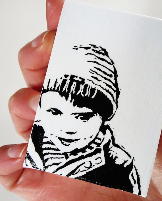 Mini Portrait - Custom Portrait on Tiny Canvas and Easel. Large discounts for multiples.