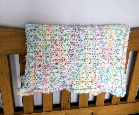 SALE - Fluffy Handmade Crocheted Baby Blanket