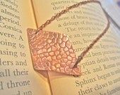 Copper geometric minimalist necklace with pattern