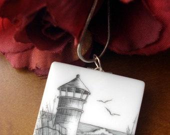 Scrimshaw Lighthouse Pendant Necklace