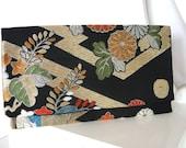 Black and Gold Kimono Obi Clutch