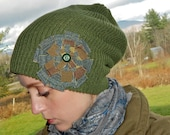 Gypsy Grunge Olive Green Knit Hat with Recycled Fabric Flower and Vintage Button