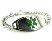 Medical Alert Bracelet, Green, Custom ENGRAVED FREE - i1C-BS1