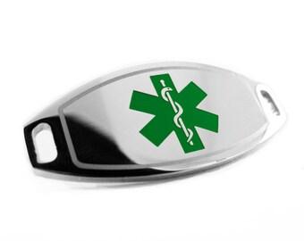 Green Medical ID Plate for Beaded Bracelet, ENGRAVED FREE - i1C