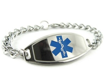 Steel Medical Bracelet, Custom ENGRAVED FREE - i1C-BS1