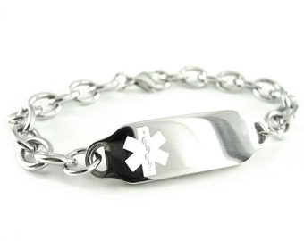 Ladies Medical ID Bracelet, Stainless Steel White, O-LINK, Custom Engraved FREE - i2C-BS2