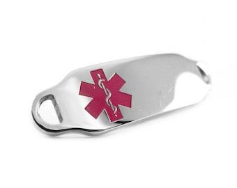 Purple, Steel, Medical Alert ID Plate for Beaded Bracelets, Custom ENGRAVED FREE - i2C