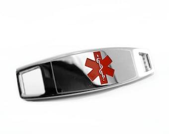 Medical Alert ID Plate for Beaded Bracelets, Custom ENGRAVED FREE Steel - i4R