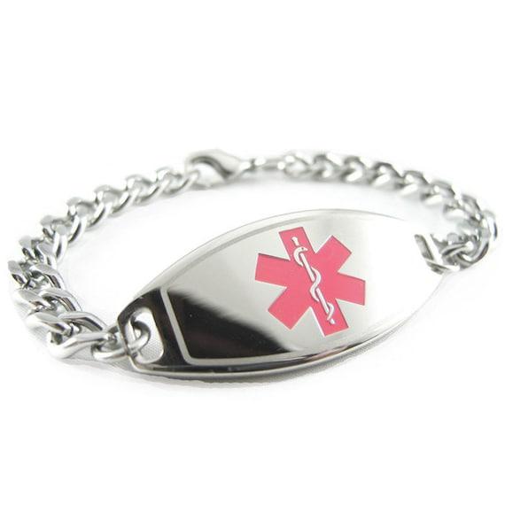 Medical Alert ID Bracelet, Pink, Custom ENGRAVED FREE - i1C-BS1