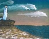 Light House Print - Limited Edition Fine Art Print - 11 x 14 - Ocean Light House - Ocean Scene - Cloudy Sky