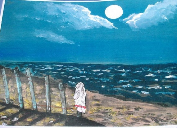 Moonlight Swim Print - Limited Edition Print - Fine Art Print  - 11 x 15 - Beach Scene Print - Ocean at Night - Night Swim - Full Moon