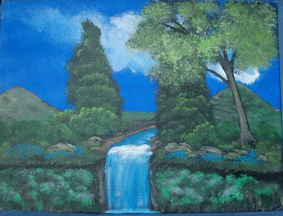 Waterfall Painting - Original Painting - Summer Waterfall - Fine Art Acrylic Painting - Canvas Board - 12 x 16 - Forest Waterfall