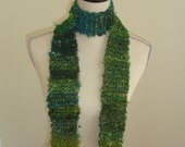 Emerald Green Scarf Hand Knit
