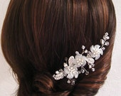 Chiffon fabric flowers created into Pinwheel, Swarovski marquis crystal stones, Austrian crystal hair comb