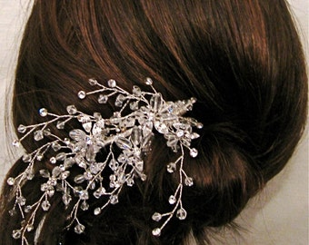 Swarovski Marquis crystal rhinestones in settings, crystal faceted stones, hand wired into hair comb.