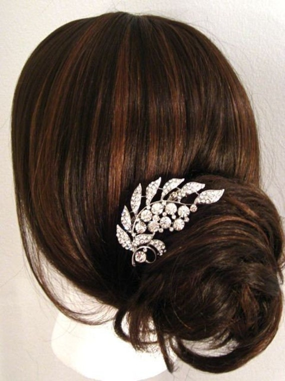 Crystal Rhinestone pave' Leaf Motifs in Settings Brooch for hair on comb or as pin