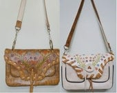 SALE REVERSIBLE Tooled Leather Tan and Cream Shoulderbag with Painted Flowers and Removable Strap