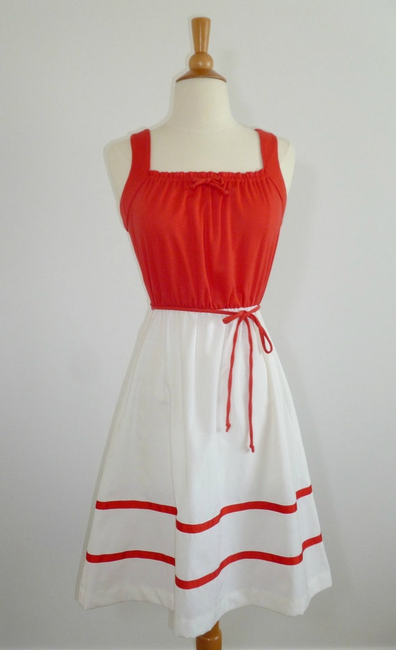 SALE Ahoy 1970s Red and White Dress Sz Small