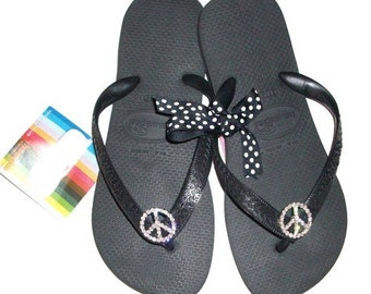 Havaiana Brazilian Crystal Peace Sign Flip Flops 39/40 size 8-9 other sizes and colors available upon request