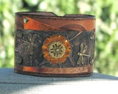 Leather cuff vintage flower and double dragon flys