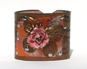 Wide Cuff Vintage flare Butterfly and Rose rocker style