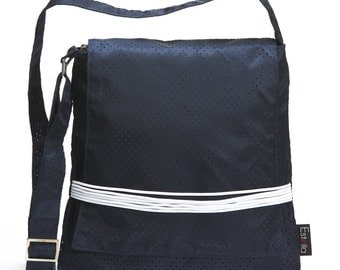VEGAN NAVY BLUE messenger bag with white elastic rubber band, Medium Size bag, cross the body bag for woman - Gumi On Sale 30% (was 78usd)
