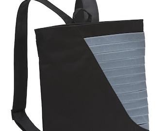 black friday Black vegan backpack, medium size faux leather bag, Geometric design purse  Made to order Gabby