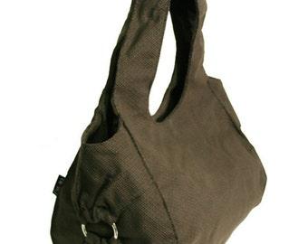 vegan BROWN HOBO, Canvas roomy handbag with decorative metal ring, Large size shoulder bag for woman - Chicago