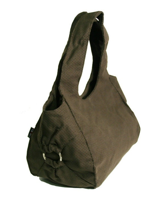 vegan BROWN HOBO, Canvas roomy handbag with decorative metal ring, Large size shoulder bag for woman - Chicago