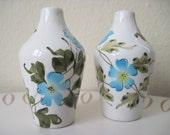vintage Italian Ceramic Blue Morning Glory Vase Shaped Salt and Pepper Shakers