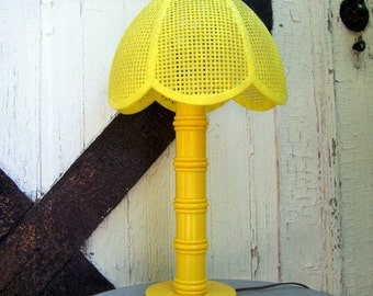 Vintage 1970s Yellow Faux Bamboo Plastic Lamp