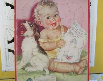 1950s Baby and Puppy Puzzle by Charlotte Becker