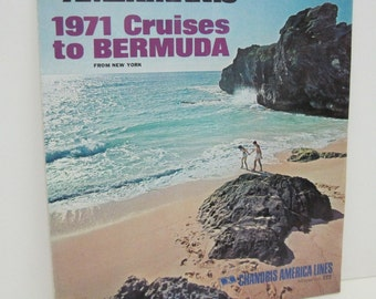 1971 Chandris Cruise Ship Booklet ... THE LOVE BOAT from New York to Bermuda on the Amerikanis