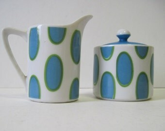 vintage White, Turquoise, & Green Sugar and Creamer Set