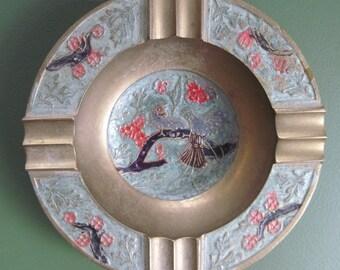vintage Brass CLOISONNE Enamel BIRD Trinket Bowl or Ashtray