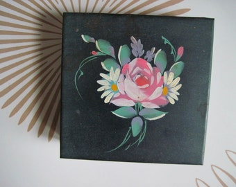 vintage 1940s Black Metal Tole Box with Hand Painted Roses for jewelry, trinkets, keepsakes, mementos