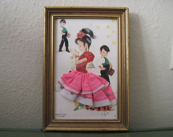 vintage Embroidered & Fabric MOD Flamenco Dancer with Boys Framed Art