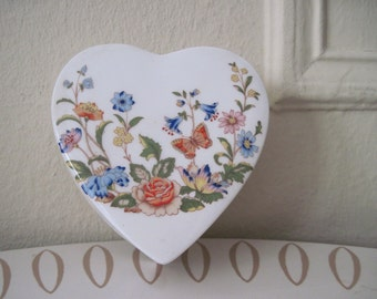 vintage 80s Aynsley HEART SHAPED BOX, Butterflies and an English Country Garden