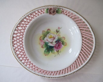 vintage 1940s Pink Lattice Rose Serving Bowl with a Bouquet of Hand Painted Roses