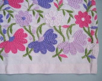 vintage 60s Pink Dresser Scarf with Pretty Embroidered Flowers in hot pink, purple, lilac, and green
